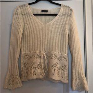 Zucca cream tie-waist sweater w bell sleeves M